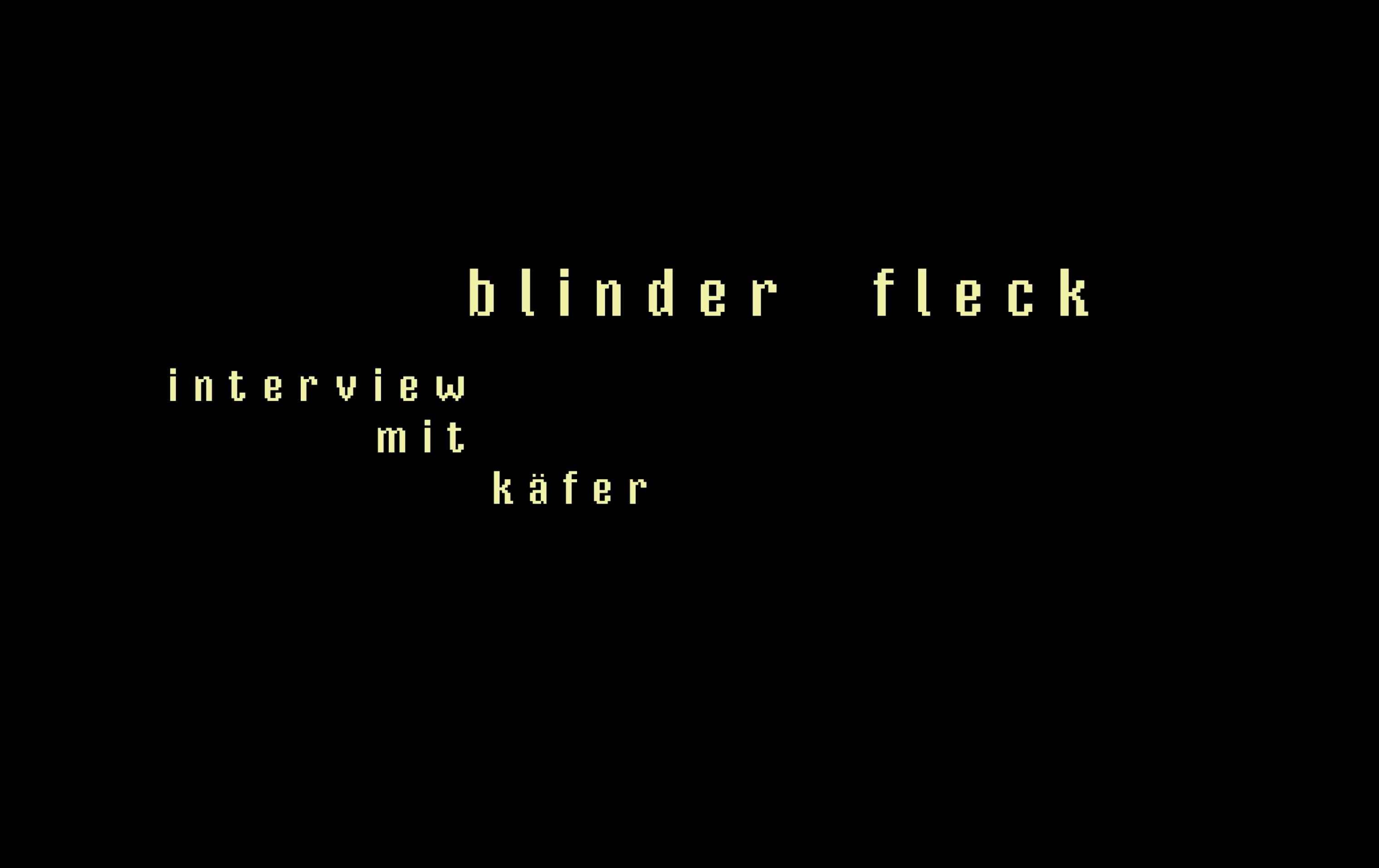 blinder fleck- interview mit käfer